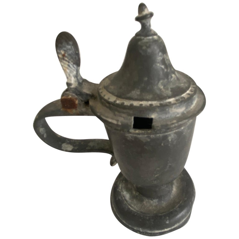 Early American Pewter Mustard Pot For Sale