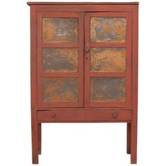 Early American Pie Safe Cabinet with Patina Metal Details and Single Drawer