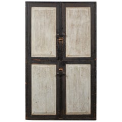 Early American Rustic Black and White Four-Door Cabinet