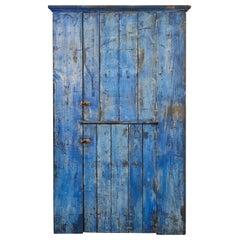 Early American Rustic Cobalt Blue Two-Door Cabinet