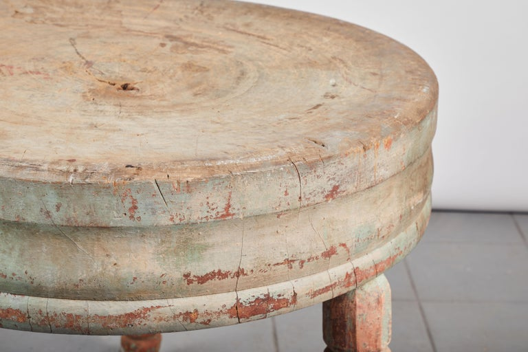 19th Century Early American Rustic Round Butcher Block Table For Sale