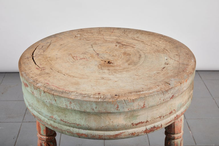 Wood Early American Rustic Round Butcher Block Table For Sale