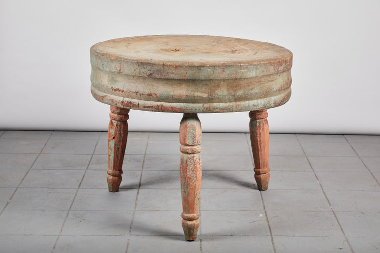 Early American Rustic Round Butcher Block Table For Sale 1