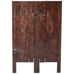 Early American Rustic Slatted Two-Door Cabinet