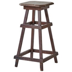 Early American Rustic Squared Stool