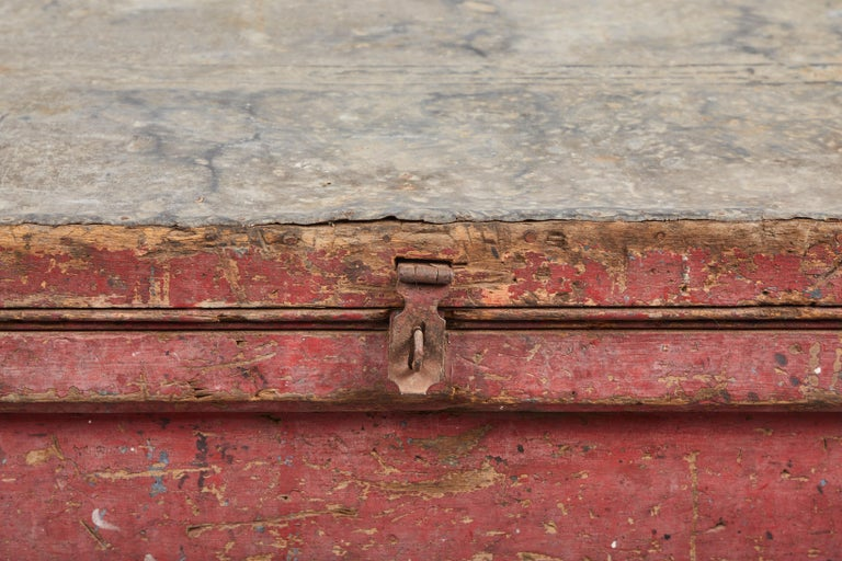 19th Century Early American Rustic Trunk with Zinc Top For Sale