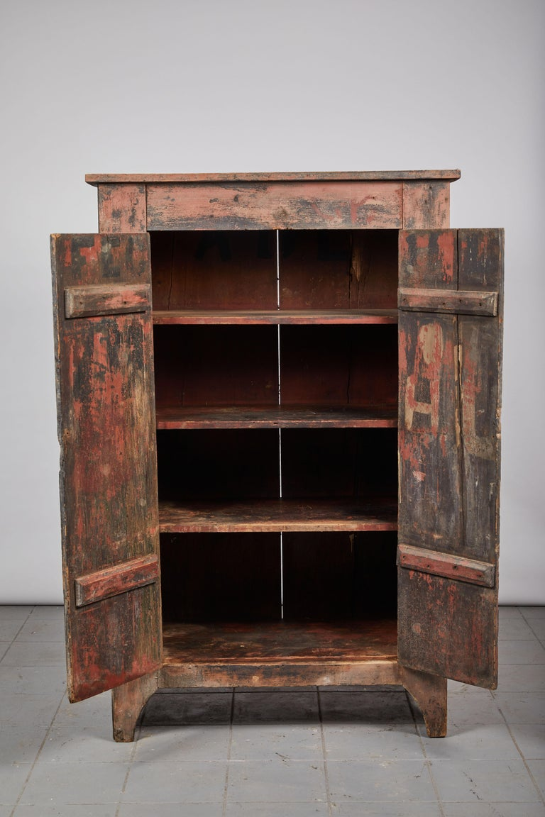 Wood Early American Rustic Two-Door Cabinet For Sale