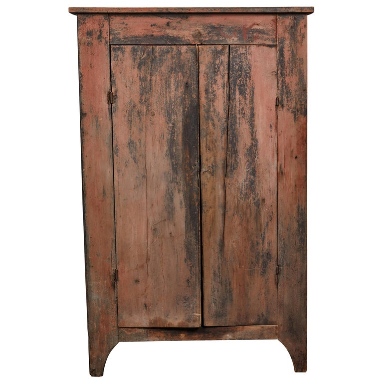 Early American Rustic Two-Door Cabinet For Sale