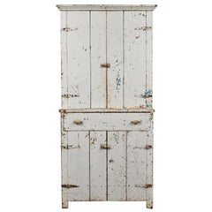 Early American Rustic White Painted Cabinet