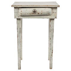 Early American Rustic White Painted Side Table