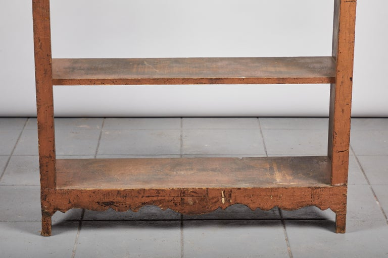 19th Century Early American Scalloped Wall Hanging Shelf For Sale