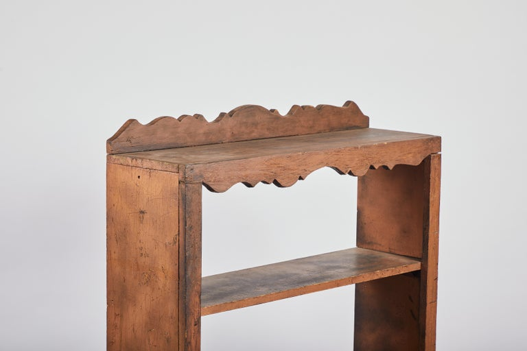 Early American Scalloped Wall Hanging Shelf For Sale 1