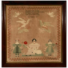 Early American School Girl Sampler by Alice Roberts, 1841-Family and Dogs