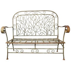 Early American Sculptured Iron Twig Garden Bench