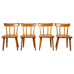 Early American Set of Four Pine Spindle Back Dining Chairs