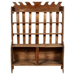 Early American Shelving Unit with Carved Wood Details