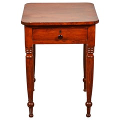 Early American Side Table with Drawer and Turned Legs
