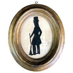 Early American Silhouette of a Man with His Rifle