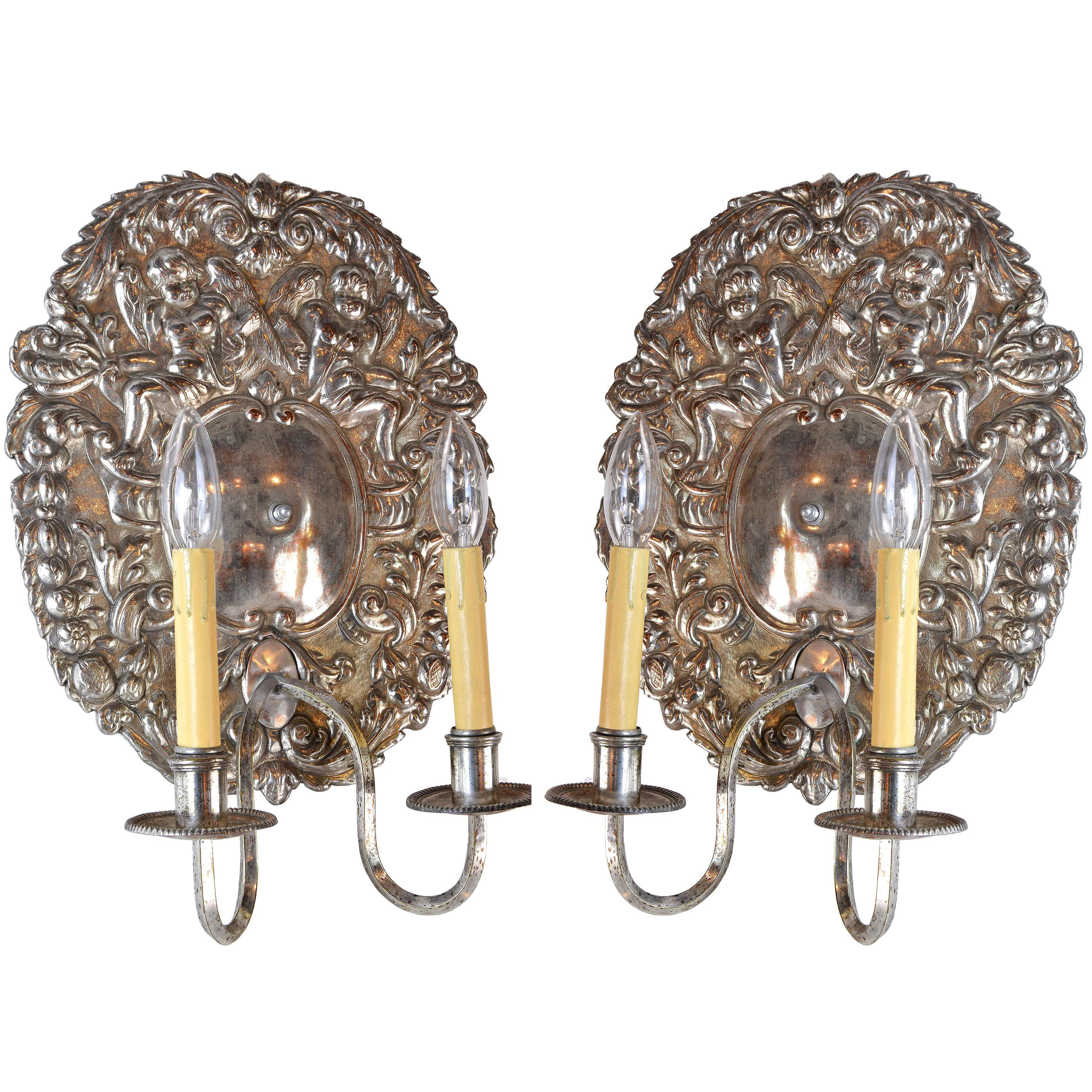 Early American Silver Sconce Pair with Cherubs