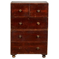Early American Stained Tall Two Piece Campaign Dresser