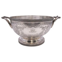 Early American Sterling Silver Centerpiece Bowl by Ball and Black, 19th Century