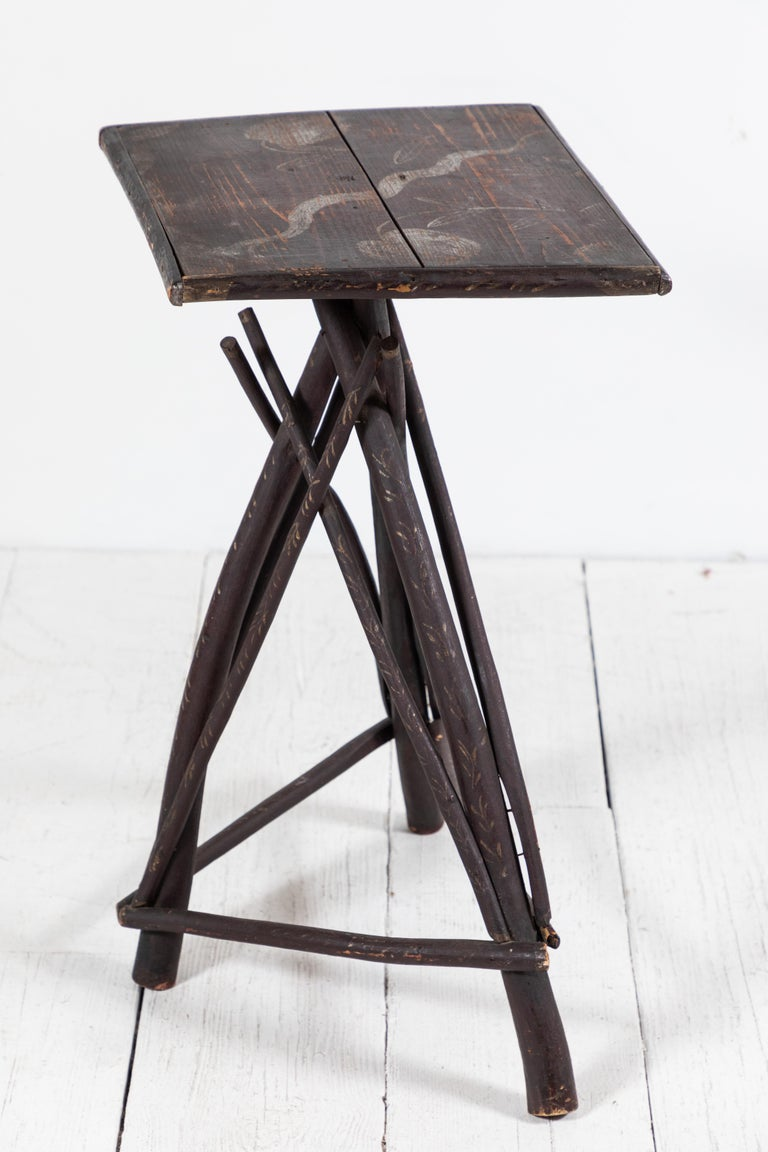 Early American Tall Table with Hand Painted Stenciled Top For Sale 2
