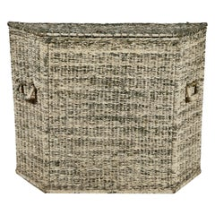 Early American White Washed Wicker Wide Basket with Lid