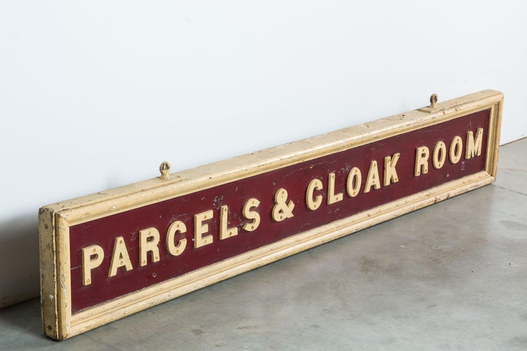 Early American Wood and Iron Double Sided Railroad Station Sign For Sale 1