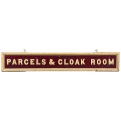 Early American Wood and Iron Double Sided Railroad Station Sign