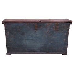 Early Americana Painted Wood Monogrammed Trunk