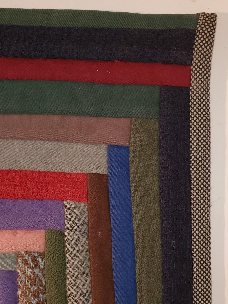 Hand-Crafted Early Amish Wool Concentric Squares Crib Quilt