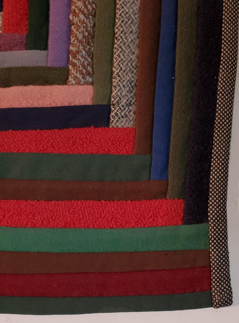 Early Amish Wool Concentric Squares Crib Quilt In Good Condition In Los Angeles, CA