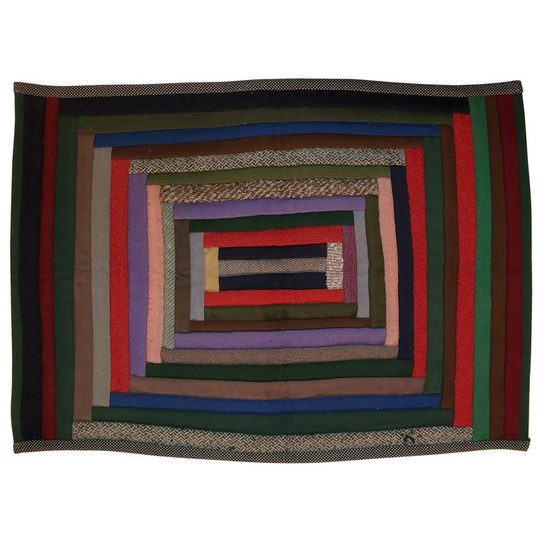 Early Amish Wool Concentric Squares Crib Quilt