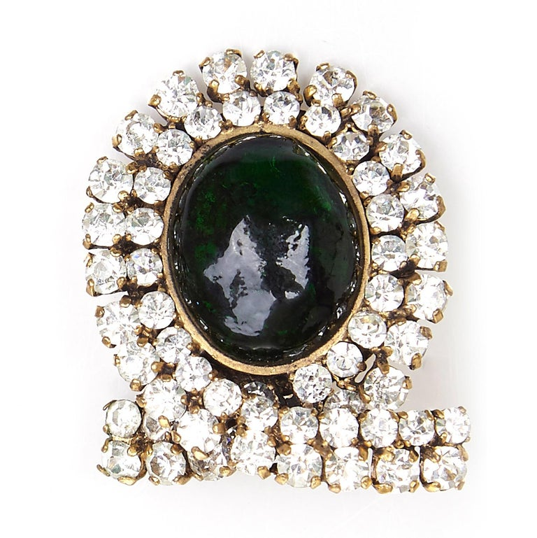 Early and Impressive 1980s Chanel Green Gripoix and Rhinestone Earrings  In Excellent Condition For Sale In London, GB