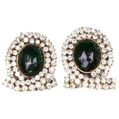 Early and Impressive 1980s Chanel Green Gripoix and Rhinestone Earrings