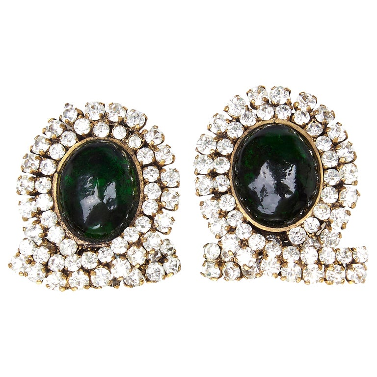 Early and Impressive 1980s Chanel Green Gripoix and Rhinestone Earrings  For Sale