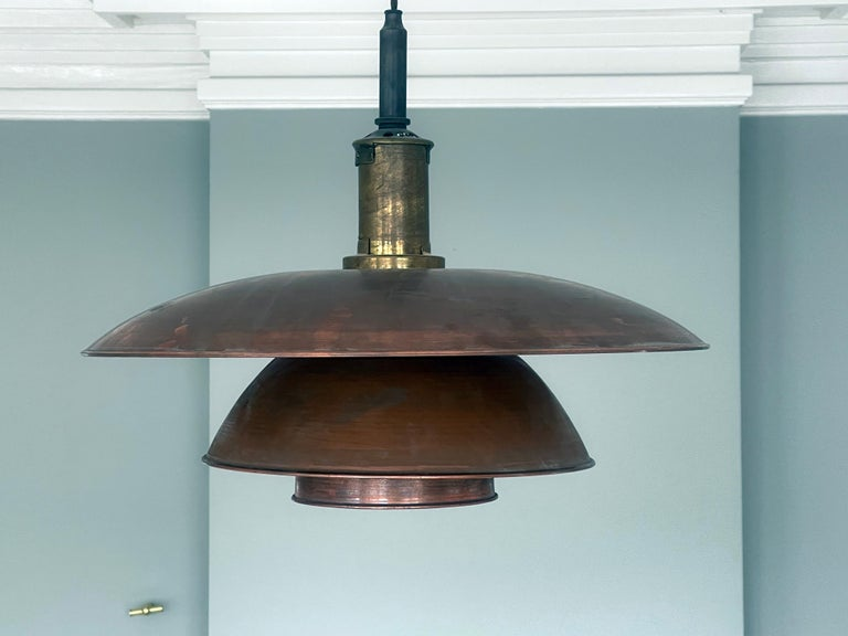 Early 20th Century Early and Large Poul Henningsen Pendant 5/5 Pat, Appl, in Copper, Denmark, 1928 For Sale