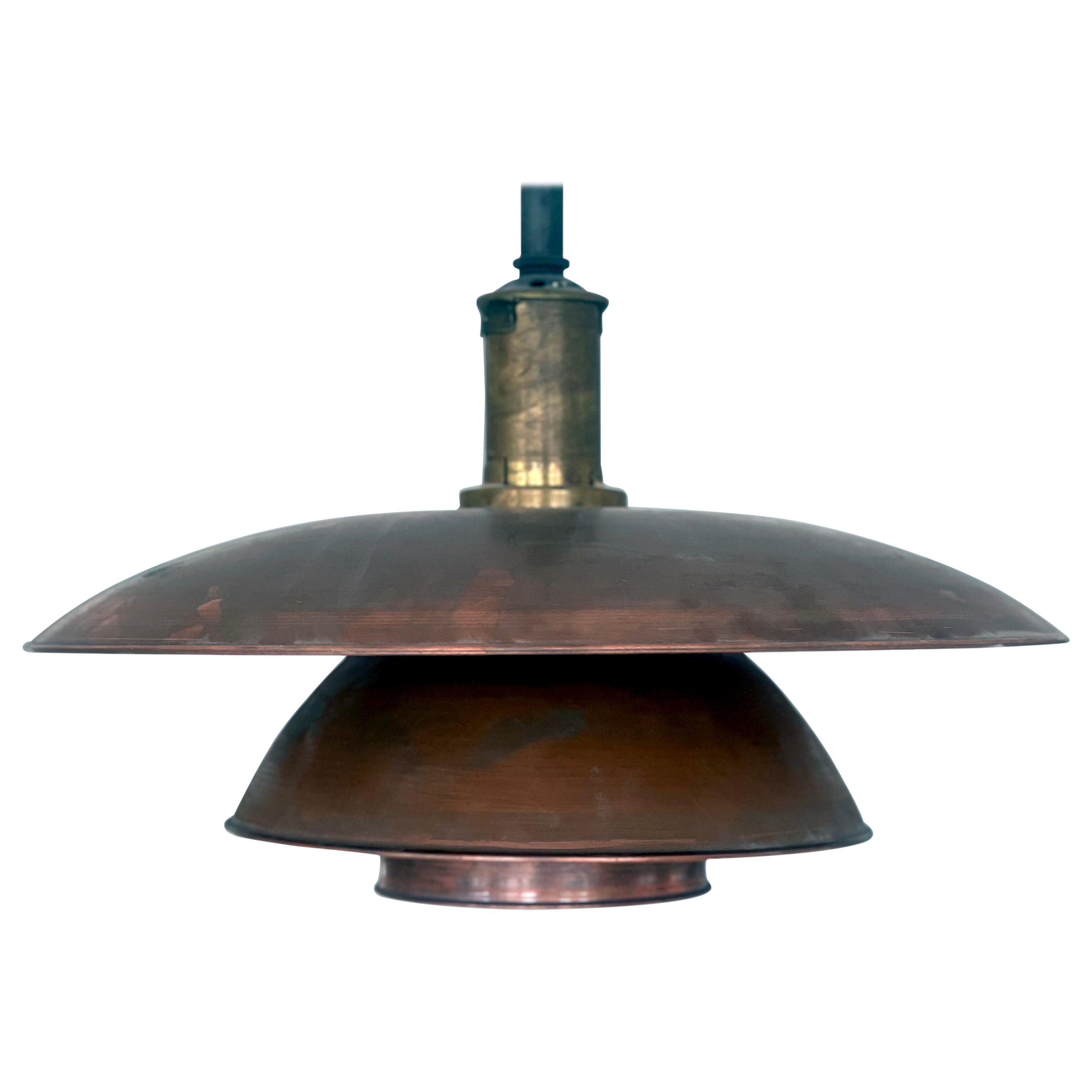 Early and Large Poul Henningsen Pendant 5/5 Pat, Appl, in Copper, Denmark, 1928
