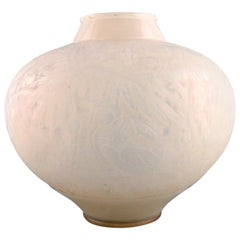 "Early and Large René Lalique ""Aras"" Vase in Opaline Art Glass, Model 919"
