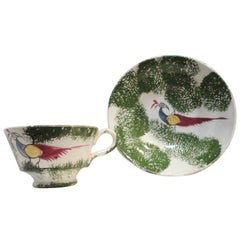 Early and Rare 19th Century Peafowl/Stick Spatter Childs Cup and Saucer
