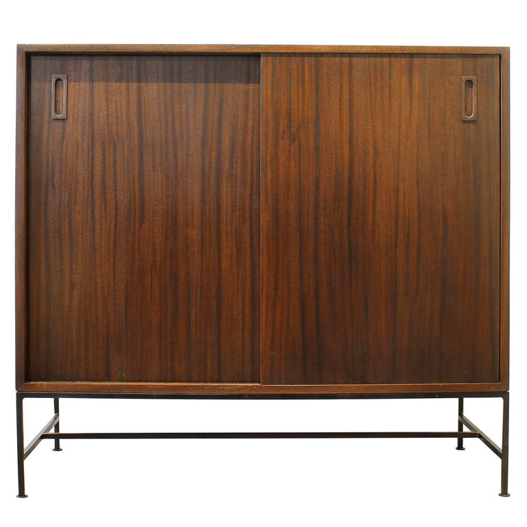Early and Rare Chest by Harvey Probber, Mahogany with Wrought Iron Base For Sale