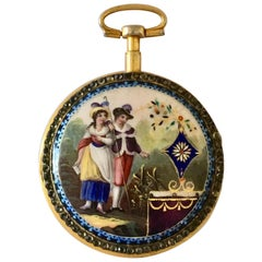 Early and Rare Verge Fusee Enamel Pocket Watch Signed Bouvier A' Geneve
