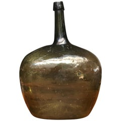 Early Antique American Blown Glass Dark Green Demijohn Bottle