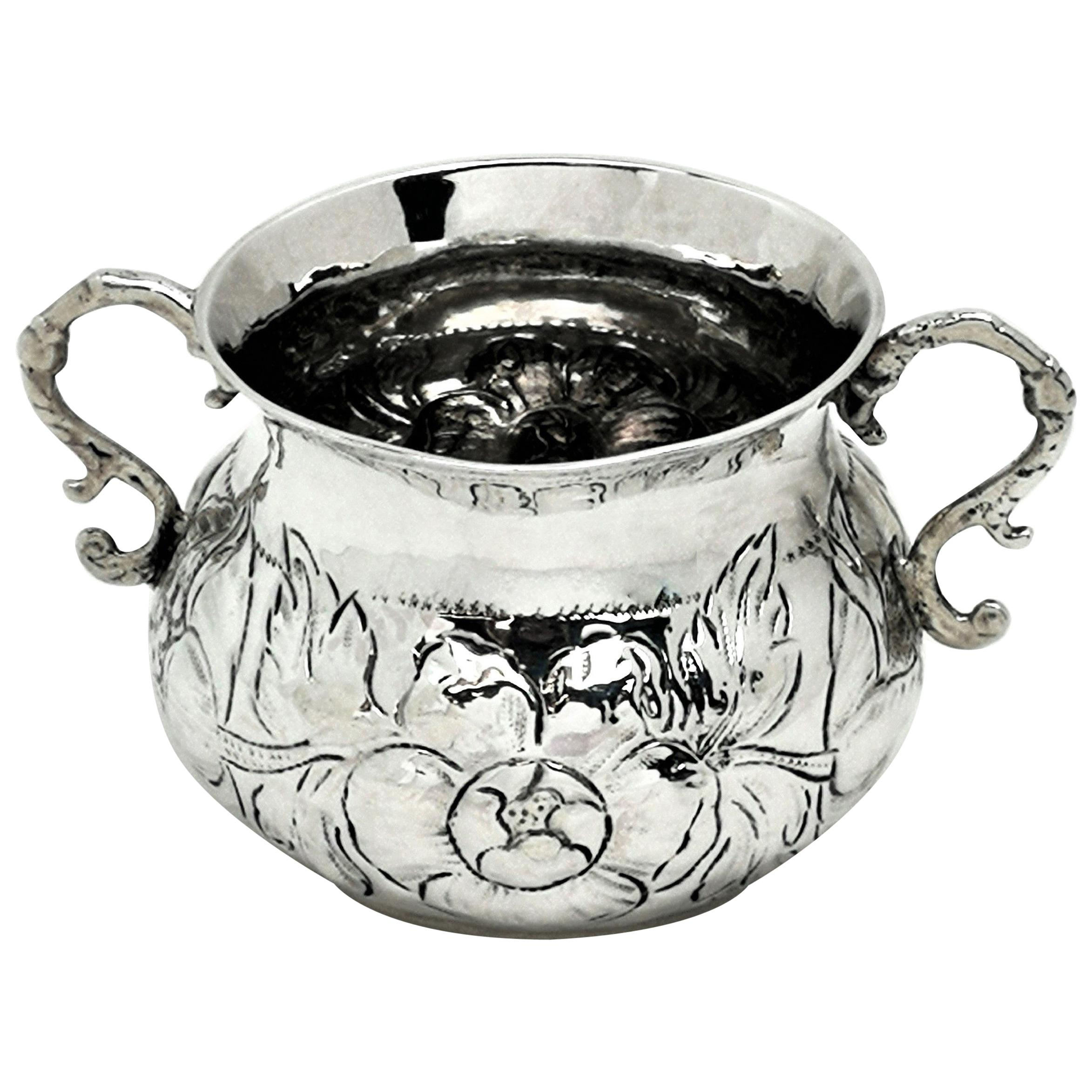 Early Antique Charles II Sterling Silver Porringer / Two Handled Cup  c.1675