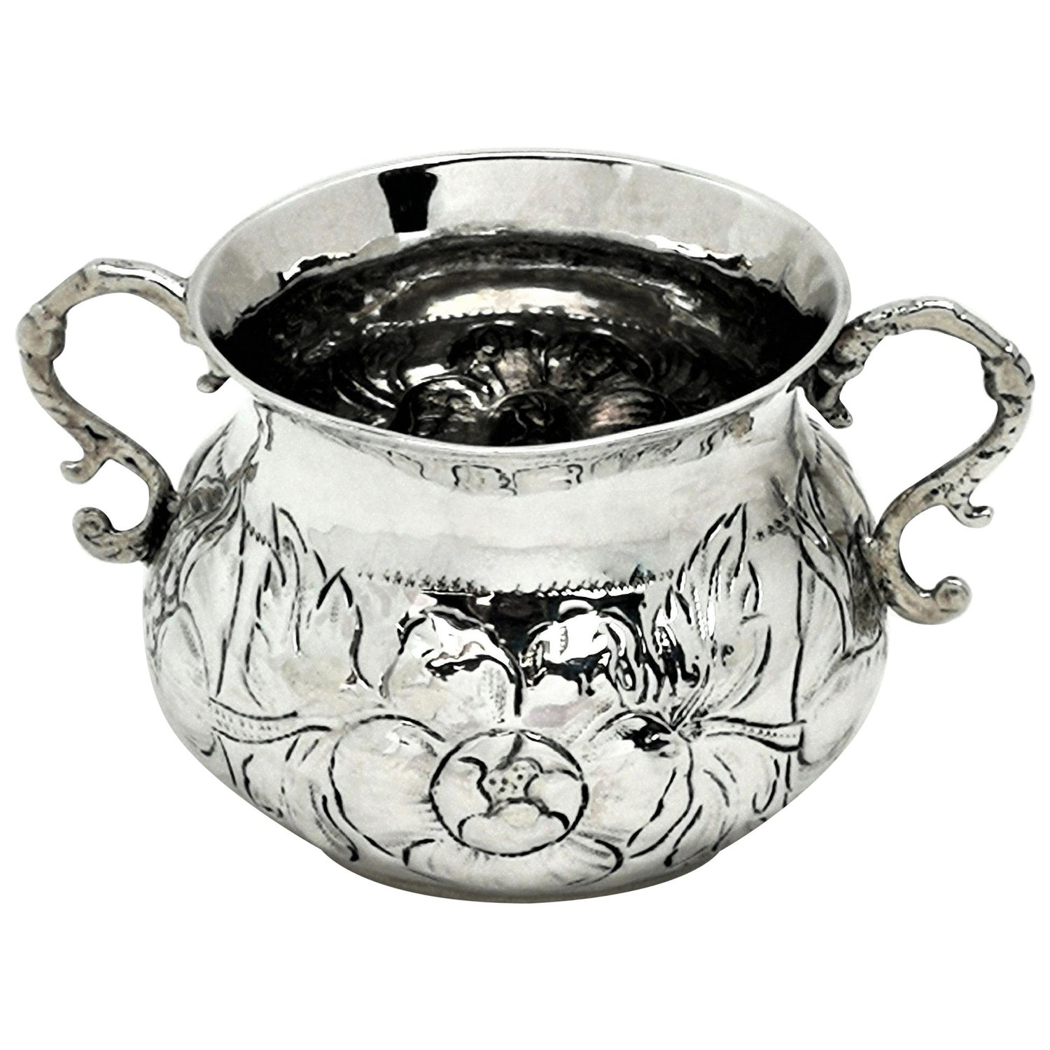 Early Antique Charles II Sterling Silver Porringer / Two Handled Cup, 1675