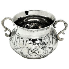 Early Antique Charles II Sterling Silver Porringer / Two Handled Cup 1675