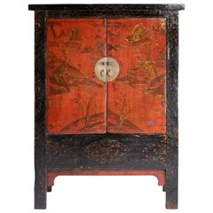 Early Antique Chinese Red and Black Lacquer Cabinet with Gilt Hand-Painting