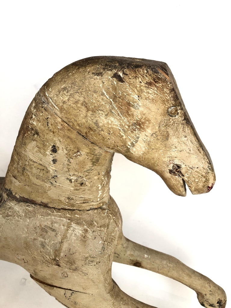 Early Antique Folk Art Wood Rocking Horse In Good Condition For Sale In Stamford, CT