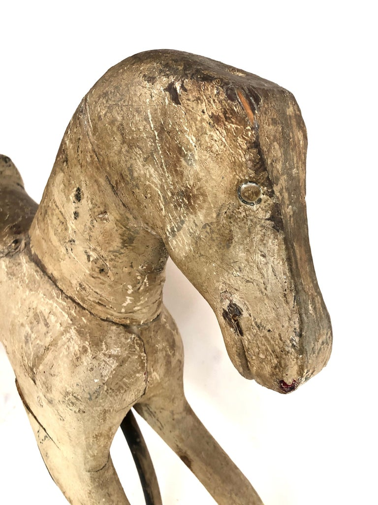 Early Antique Folk Art Wood Rocking Horse For Sale 1