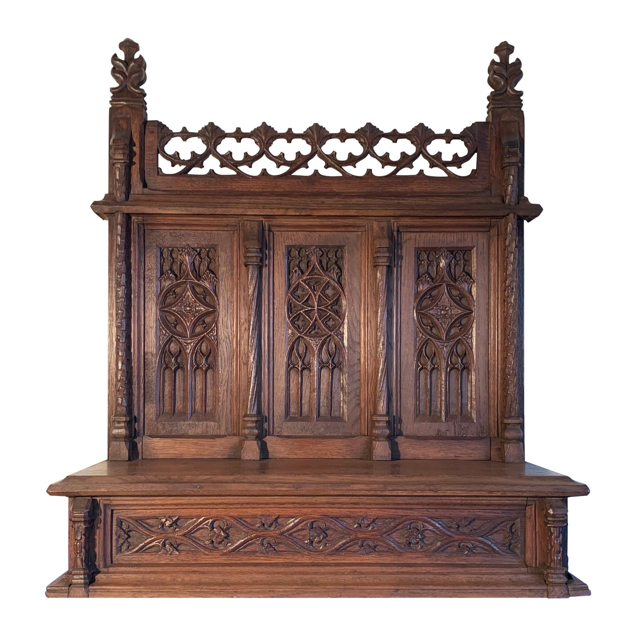 Early Antique Gothic Revival Church Altar / Shelf for Wall Mounting / Supporting